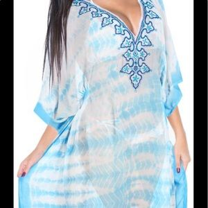 LA LEELA Cotton Tie Dye Caftan Vacation Dress